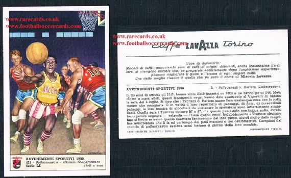 1950 Italian coffee card Lavazza Harlem GlobeTrotters basketball